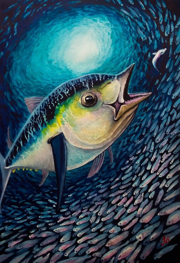 Big Fish Watercolor by Teresa Whyman Tesartmania