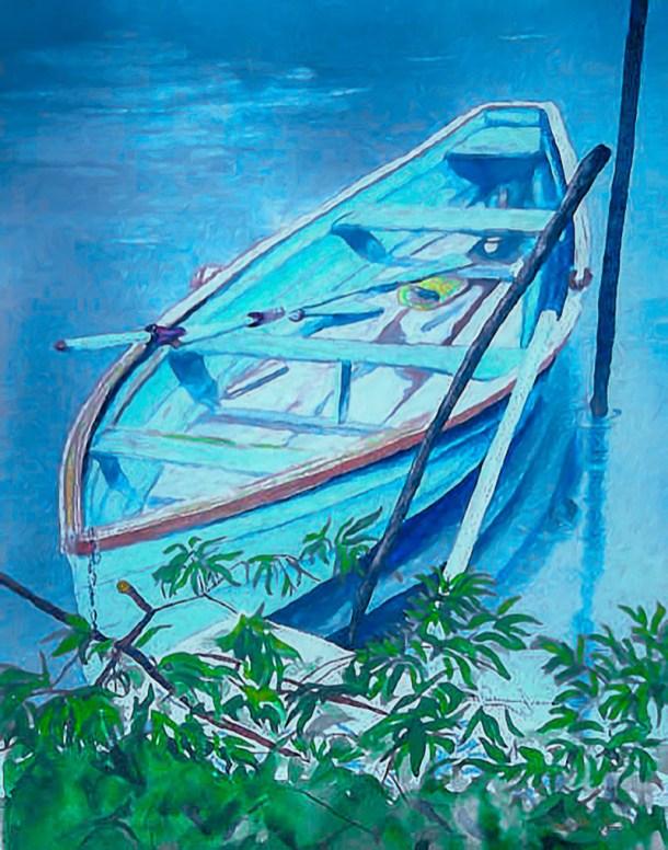 Blue Boat watercolor Brenda Cunningham