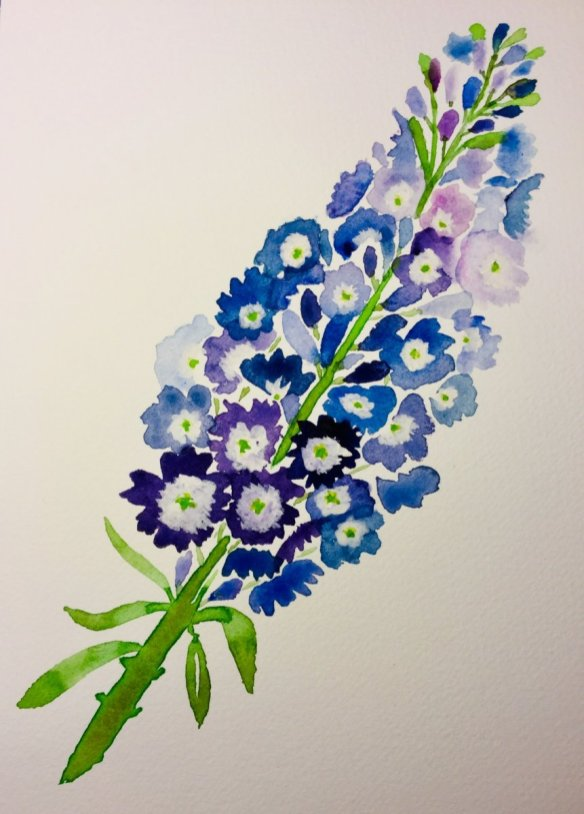 Blue Flower Bouquet Watercolour