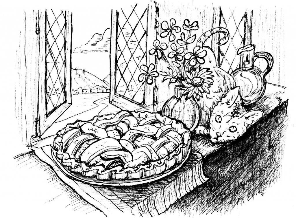 Apple Pie Cooling Window Cat Inktober 2019 Illustration