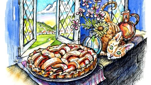 Apple Pie Cooling Window Cat Watercolor Inktober Illustration