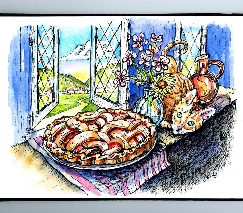 Apple Pie Cooling Window Cat Watercolor Inktober Illustration Sketchbook Detail