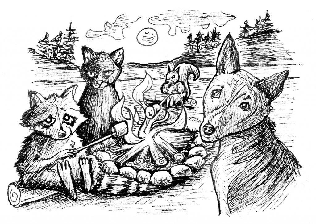 Animals Bonfire Campfire Inktober 2019 Illustration