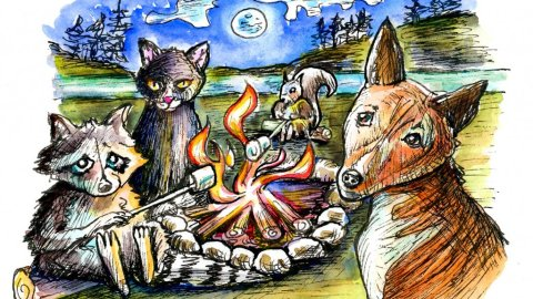 Animals Bonfire Campfire Watercolor Illustration