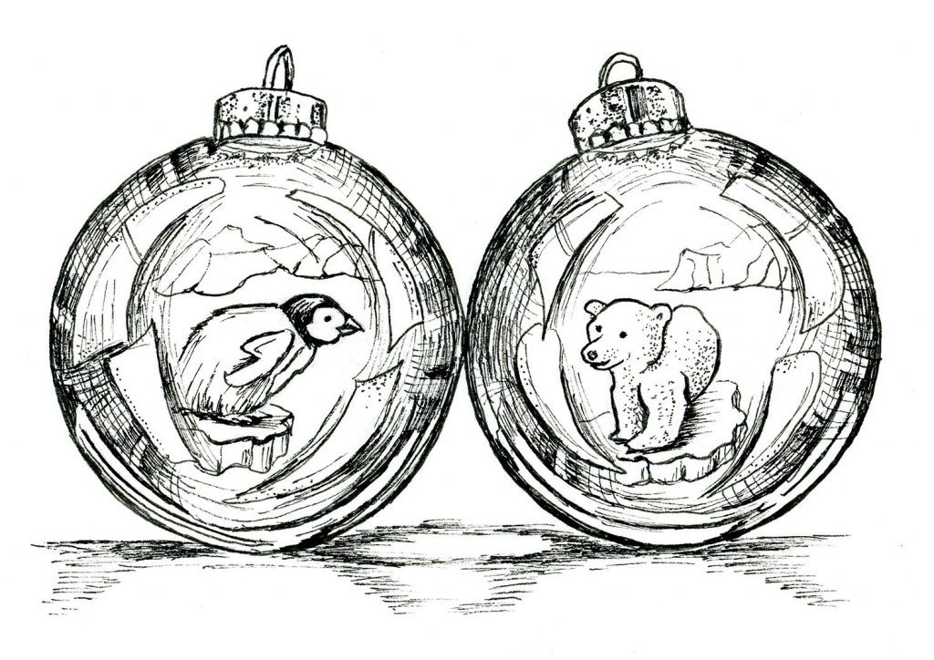 Penguin Polar Bear Christmas Holiday Ornaments Inktober 2019 Illustration
