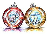 Penguin Polar Bear Christmas Holiday Ornaments Watercolor Illustration