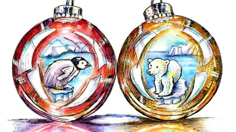 Penguin Polar Bear Christmas Holiday Ornaments Watercolor Illustration