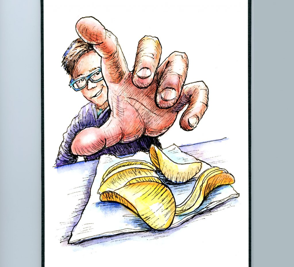Hand Reaching Out Foreshortening Watercolor Illustration Sketchbook Detail