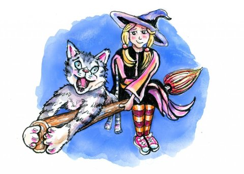 Little Worst Witch Tabby Cat Watercolor Illustration