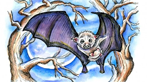 Baby Bat And Mother Watercolor Illustration