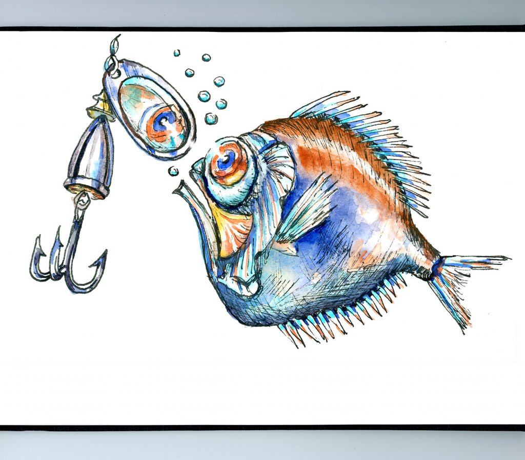 Allure Of Shiny Things Spinyfin Fish Watercolor Illustration Sketchbook Detail