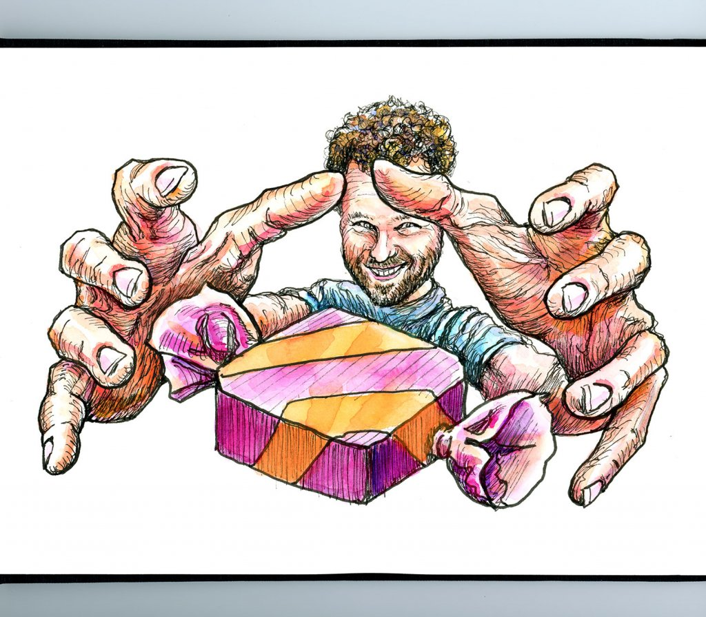 Hands Foreshortening Reaching For Candy Watercolor Illustration Sketchbook Detail