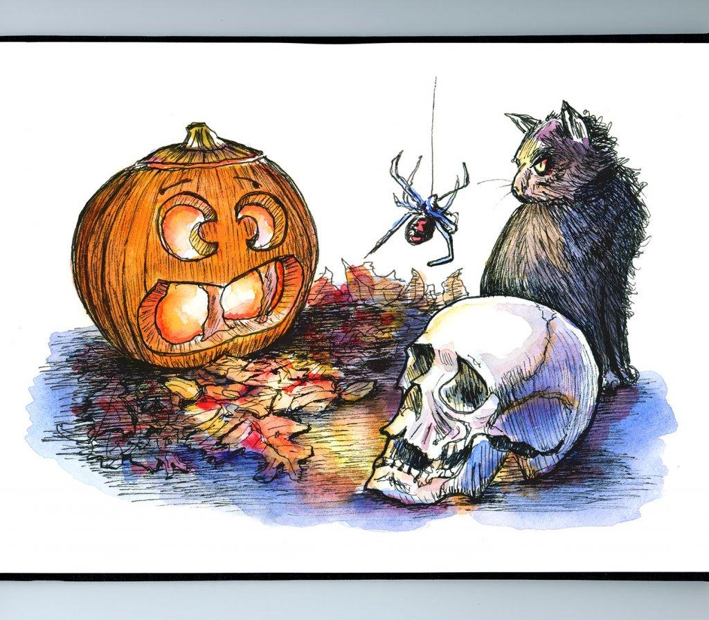 Halloween Pumpkin Skull Cat Spider Watercolor Illustration Sketchbook Detail