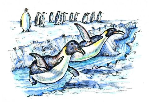Ice Breakers Penguins Inktober Watercolor 2019