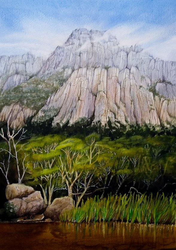 Landscape Mountains Watercolor by Teresa Whyman Tesartmania