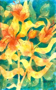 """Lilies 2: Watercolor and pencil in artist\'s journal Another sketch: working out the \""""p"""