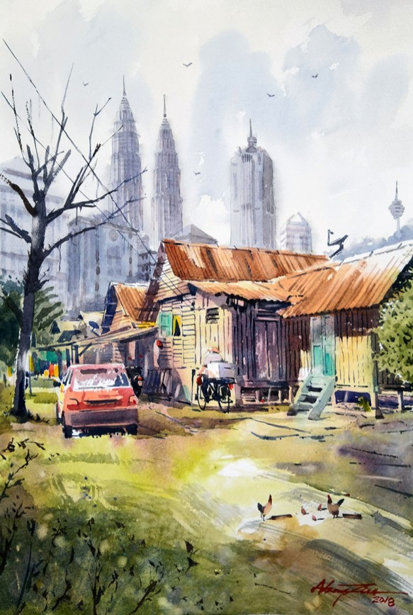 OLD HOUSE AT KAMPUNG BARU #2 Watercolor landscape