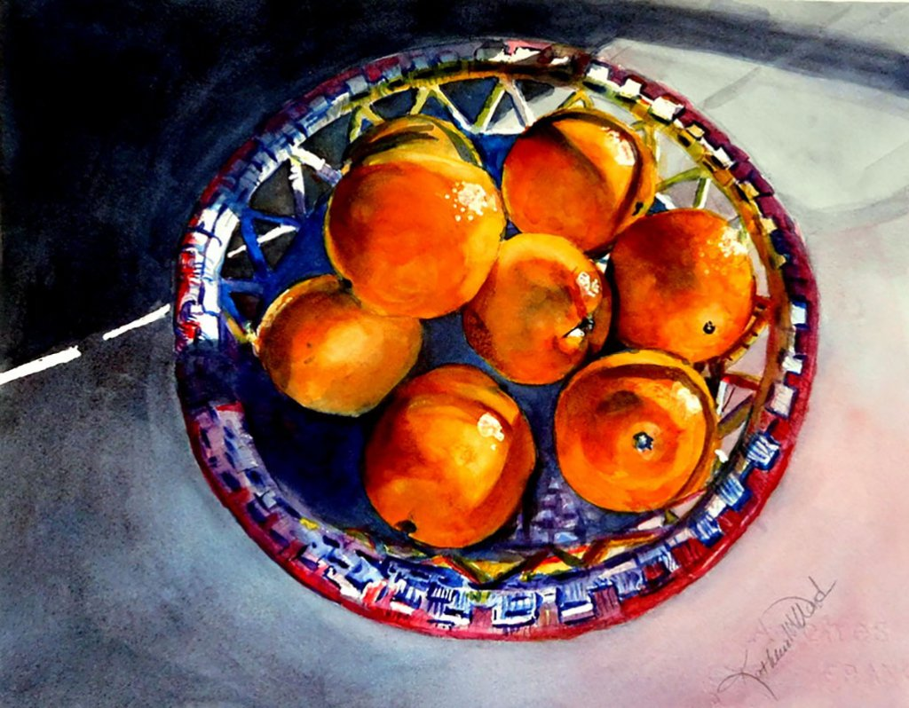 Oranges Watercolor Painting Kathleen M Ward