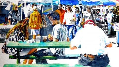 People Fair Watercolor Painting Kathleen M Ward