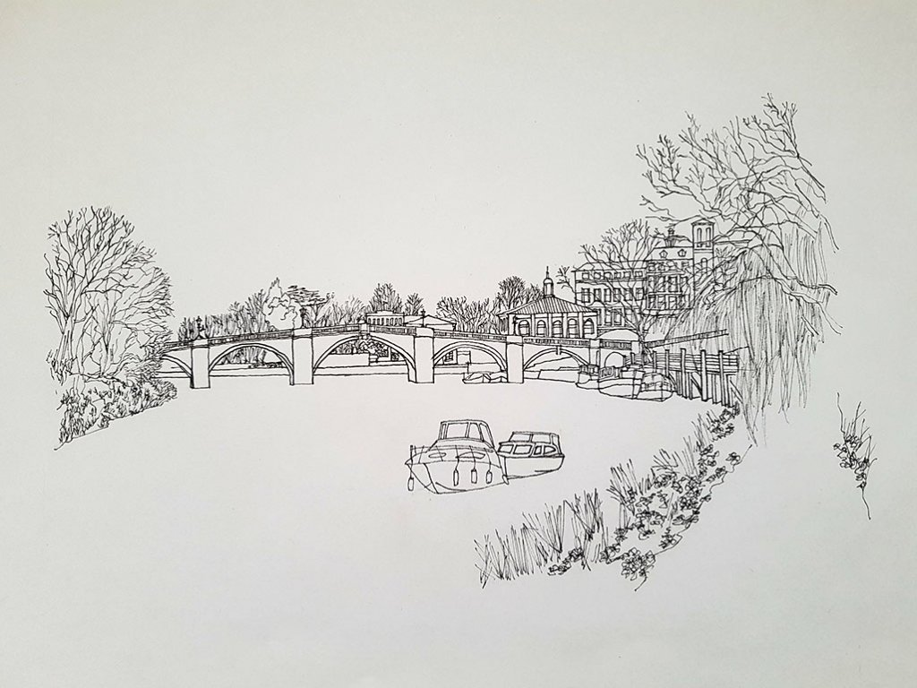 Richmond upon thames river scene Illustration