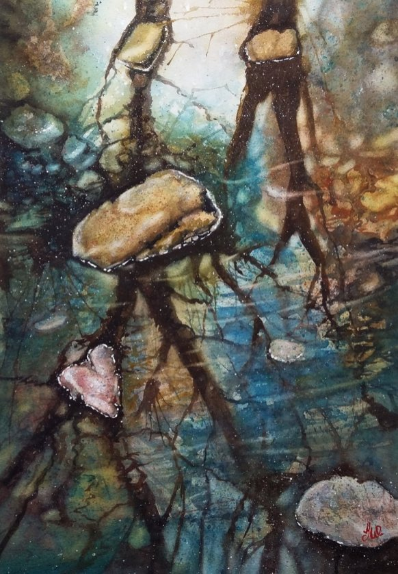 Rocks Reflections Watercolor by Teresa Whyman Tesartmania