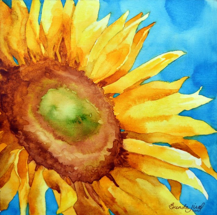 Sunny Day - Sunflower Watercolor Painting by Brenda Jiral