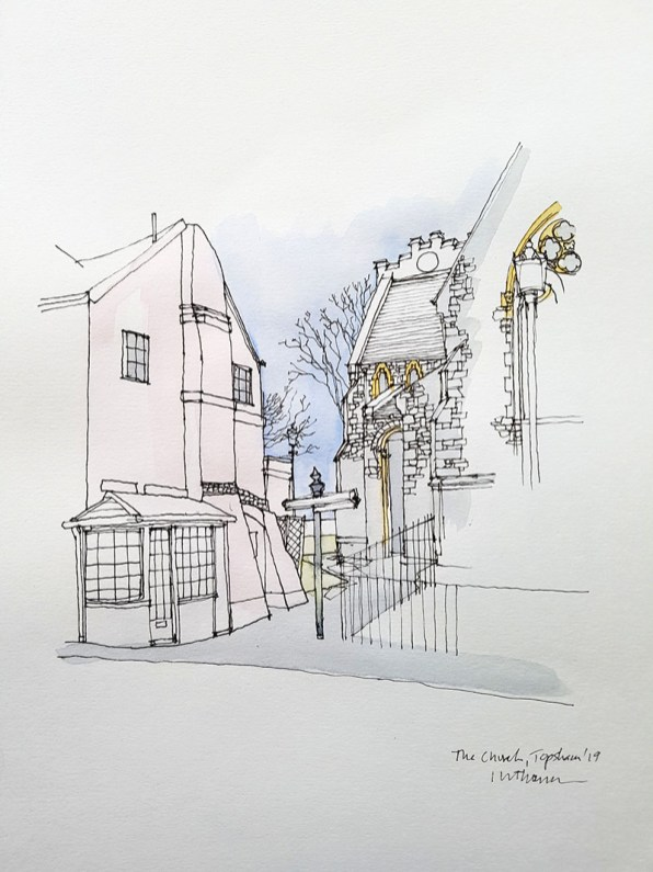 Topsham High Street Church Watercolor Illustration