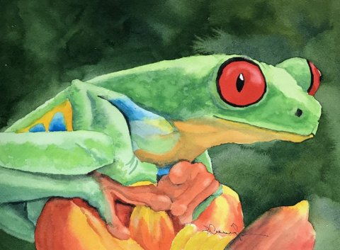 Tree Frog watercolor Brenda Cunningham