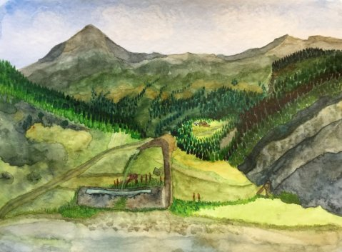 Watercolour Landscape by Deborah Ann Waugh