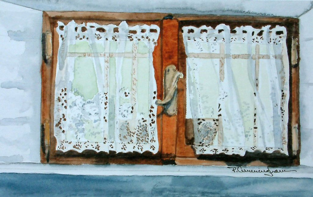 Window Drapes watercolor Brenda Cunningham