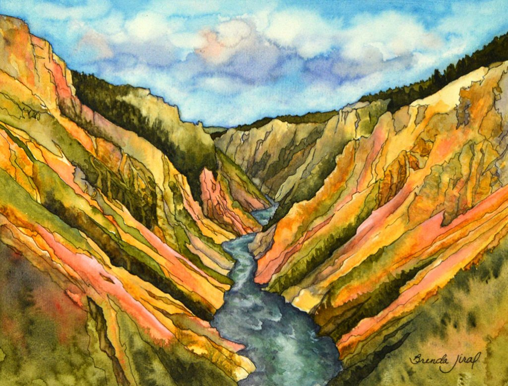Yellowstone Landscape watercolor painting by Brenda Jiral