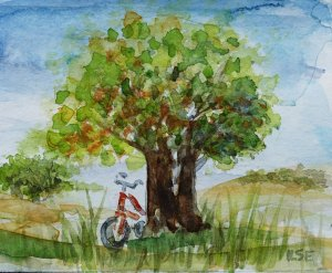 The red bicycle cykel aquarelle