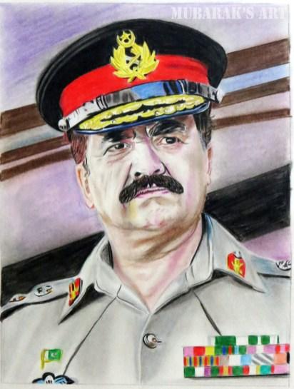 general raheel sharif color pencil sketch