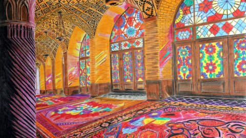 nasir ol molk colored pencil drawing