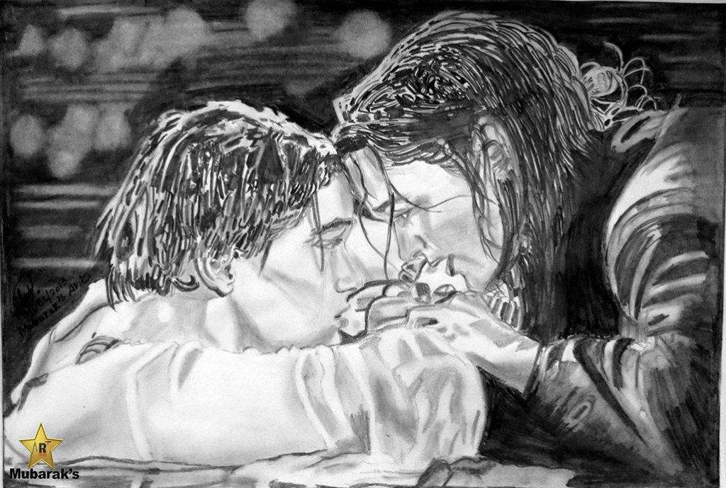 titanic last scene sketch full view darker drawing