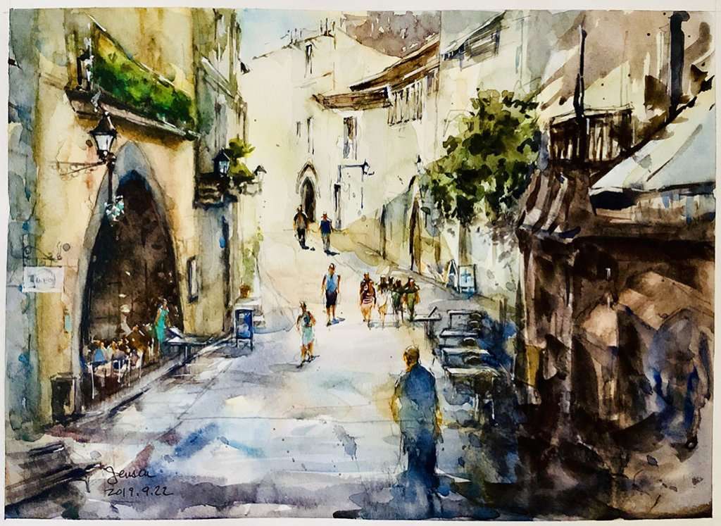 Spain Watercolor painting by Jensen Cheong