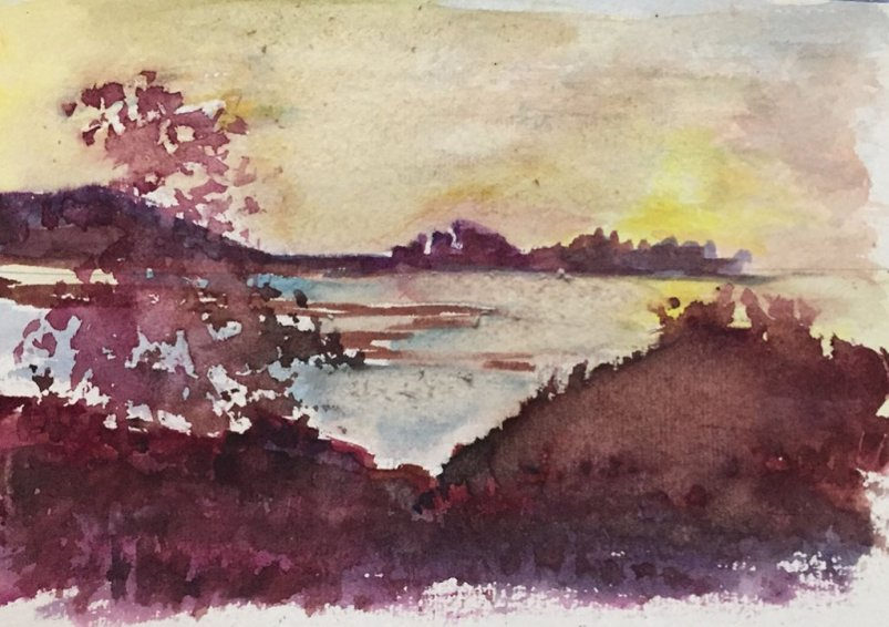 7 Sunset Watercolor Painting