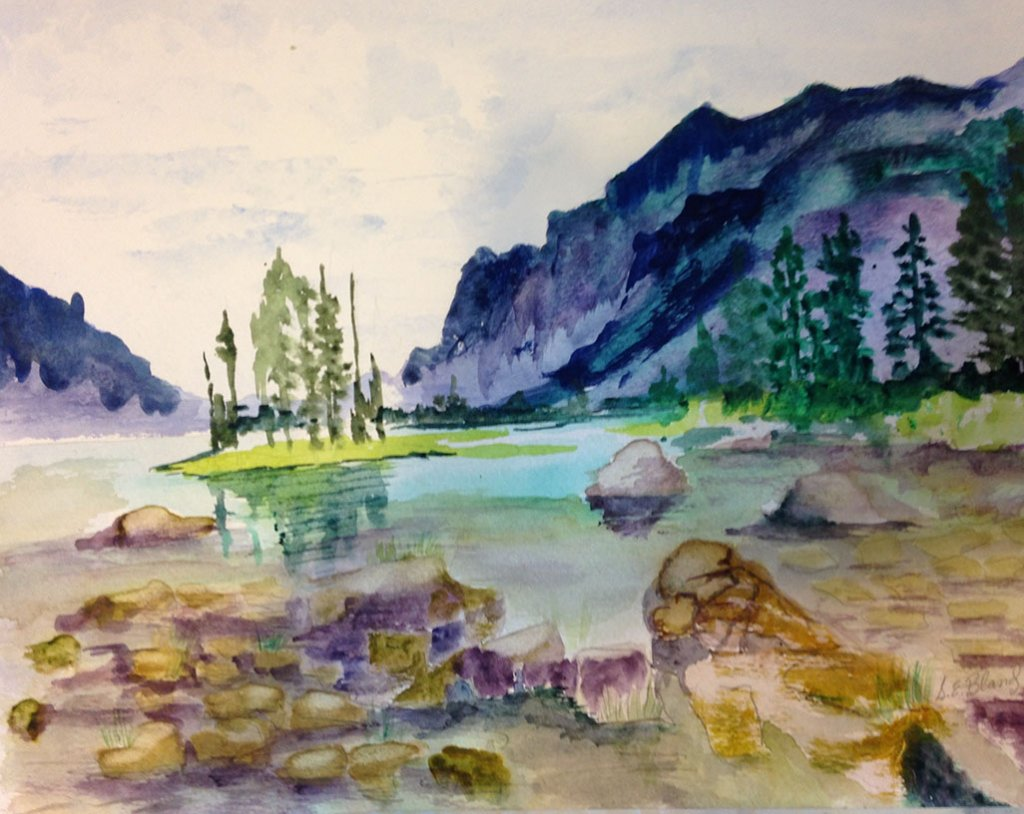 9d Watercolor Painting Water Mountains