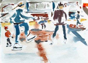 Again a little bit of ice skating practice. Watercolor reacts completely different under these circu