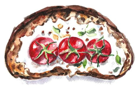 Bruschetta watercolor painting illustration by Anna Koliadych DearAnnArt