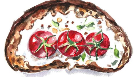 Bruschetta watercolor painting illustration by Anna Koliadych DearAnnArt