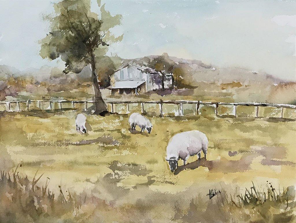 Cotswold villages watercolour painting by Vidya Lalgudi Jaishankar