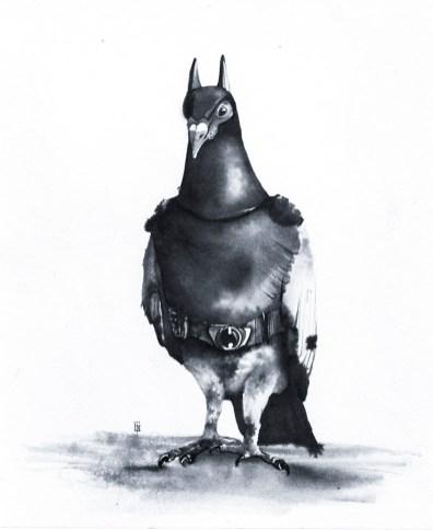 DarkPigeon Ink Drawing by Lori Nass