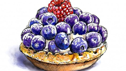 Fruit Tart Bluberries Raspberries Watercolor Illustration