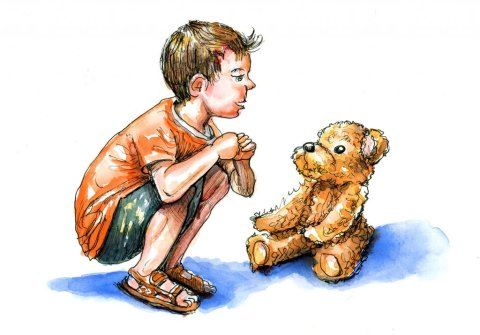 Little Boy And Teddy Bear Watercolor Illustration