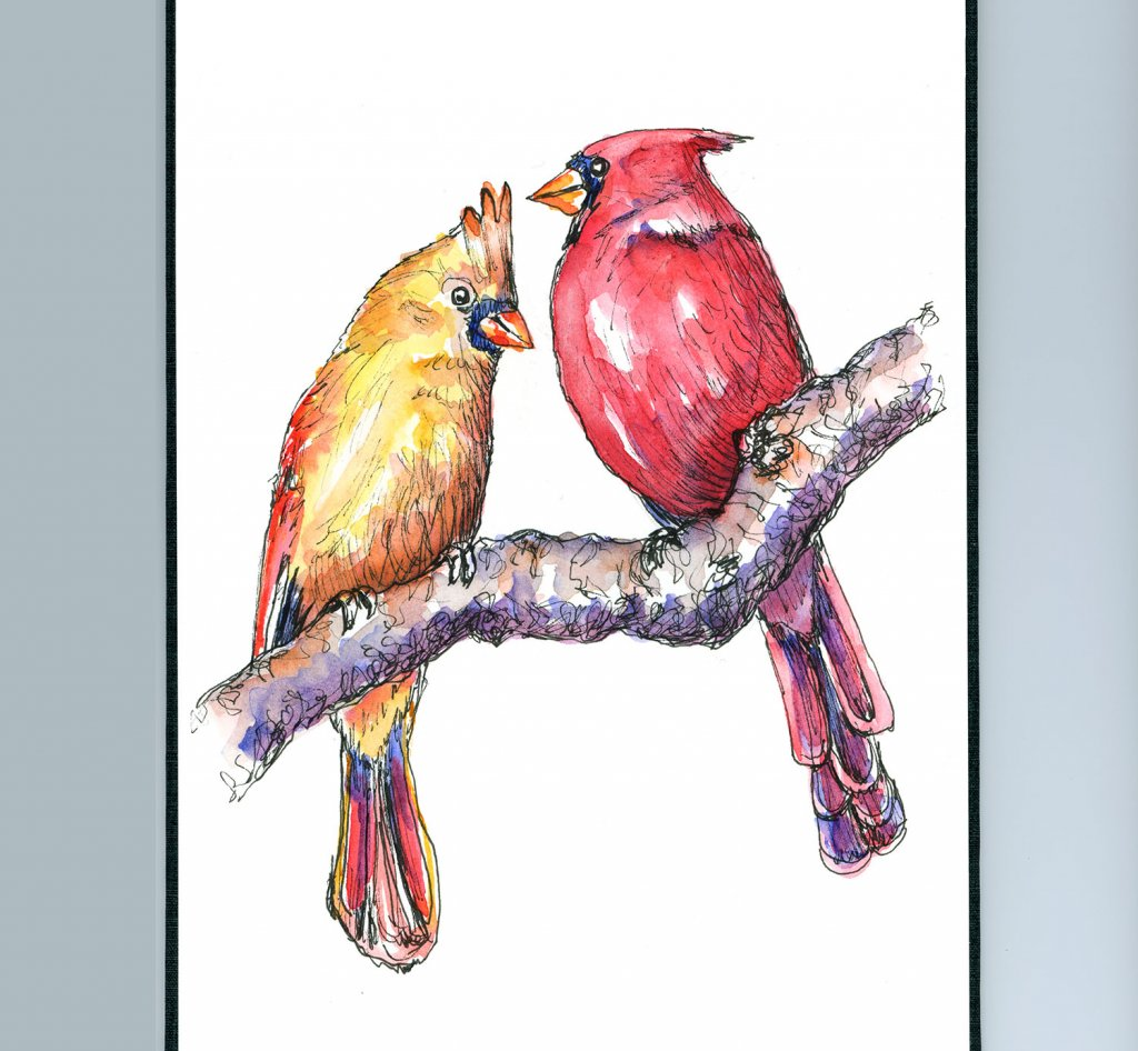 Cardinal Red Birds Male Female In Tree Watercolor Painting Sketchbook Detail