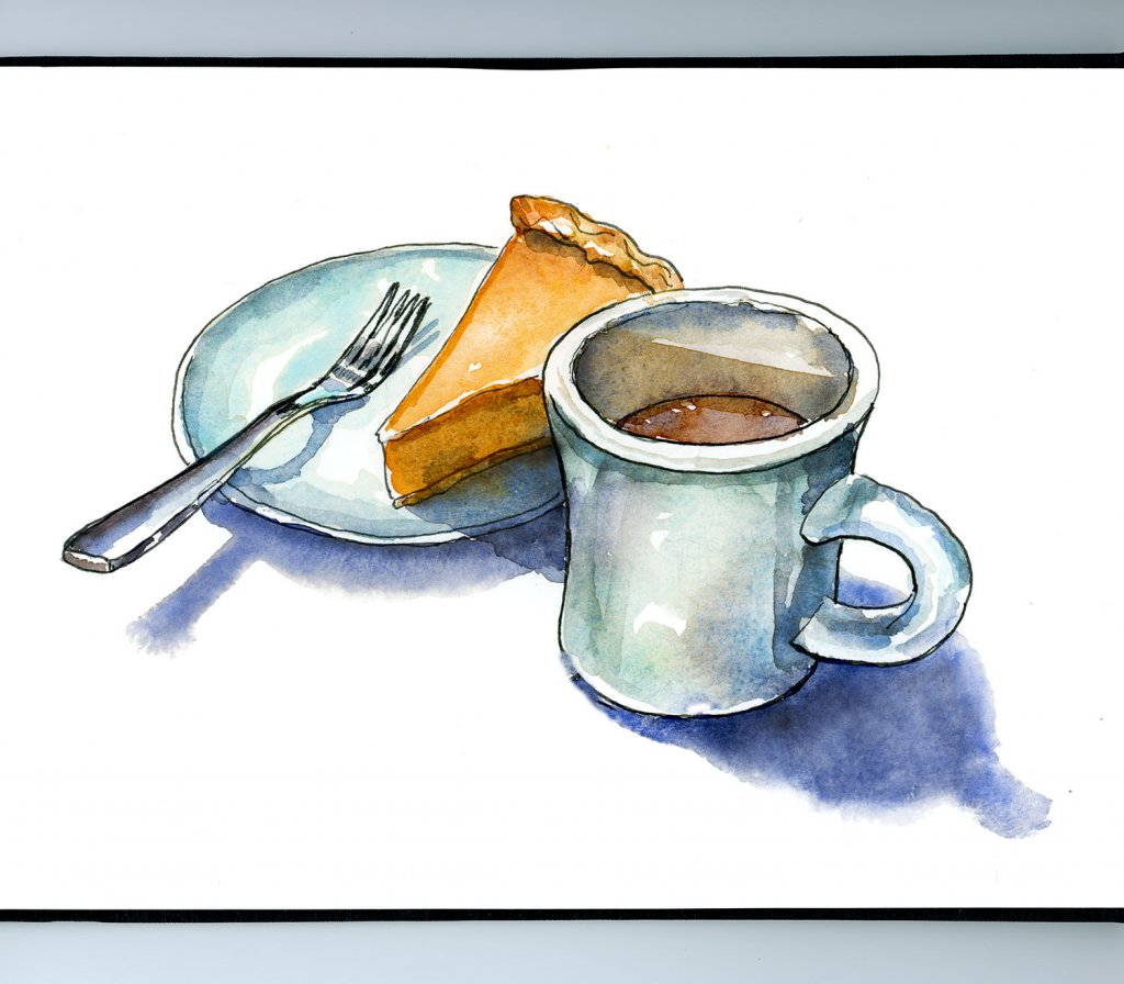 Coffee And Pumpkin Pie Watercolor Illustration Sketchbook Detail