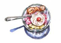 Neapolitan Ice Cream Watercolor Illustration