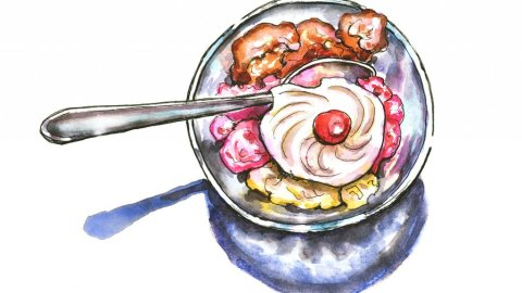 Neapolitan Ice Cream Watercolor Illustration
