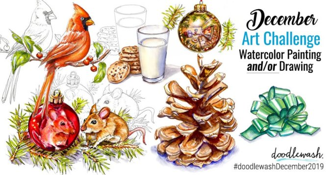 Doodlewash Watercolor Painting And Drawing Challenge December 2019 Joyful Days